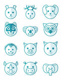 Icon set animals blue Royalty Free Stock Image