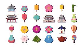 Asia culture design. Icon set of asia culture concept over background, colorful design. vector illustration Stock Photos