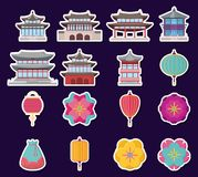 Asia culture design. Icon set of asia culture concept over background, colorful design. vector illustration Royalty Free Stock Photo