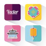 Asia culture design. Icon set of asia culture concept over colorful squares and white background, vector illustration Stock Photography