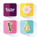 Asia culture design. Icon set of asia culture concept over colorful squares and white background, vector illustration Royalty Free Stock Photo