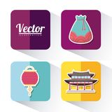 Asia culture design. Icon set of asia culture concept over colorful squares and white background, vector illustration Royalty Free Stock Images