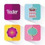 Asia culture design. Icon set of asia culture concept over colorful squares and white background, vector illustration Stock Photos