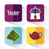 Asia culture design. Icon set of asia culture concept over colorful squares and white background, vector illustration Stock Photo