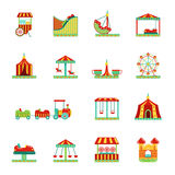 Icon set of attractions in amusement park. Circus, carousel and other vector illustrations in flat style. Color attraction icons collection Royalty Free Stock Photos