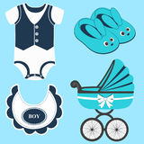 Icon set baby. Icon set baby bib, bodysuit, slippers for a boy and baby carriage. Vector illustration Royalty Free Stock Photos