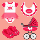 Icon set baby. Icon set baby bib, bodysuit, slippers for a girl and baby carriage. Vector illustration Stock Photos