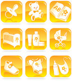 Icon set - baby goods, items stock illustration
