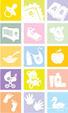 Icon set - baby goods, items royalty free illustration