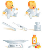 Icon set - baby health. Illust