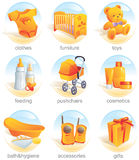Icon set - baby items. Aqua. Icon set - baby shopping, clothes, furniture, toys, feeding, pushchairs, cosmetics, bath, hygiene, accessories, gifts. Aqua style stock illustration