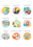 Icon set - Baby products categories vector illustration