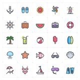 Icon set - Beach full color outline stroke royalty free stock photos