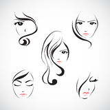 Icon set of beautiful womans face. Icon set of beautiful woman s face with  long hair.Vector illustration Royalty Free Stock Image