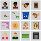 Icon set benefit/ Vector benefit Icons gray, square Royalty Free Stock Image