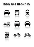 Icon Set Black #2. Vector Icon Set Black with reflect Royalty Free Stock Photos