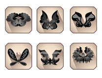 Icon set black butterfly  Stock Photo