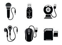 Icon set in black for digital devices Stock Images