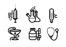 Icon set in black for medicine and pharmacy Stock Photos