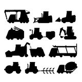 Icon set of black transport silhouettes Stock Image