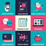 Icon set of blogging and social media marketing. Blog planning, promotion. Making steady income from a blog. Mood board and ideas Royalty Free Stock Image