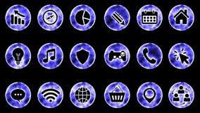 Icon Set 1 - Blue Color Black Background. 4K Resolution royalty free illustration