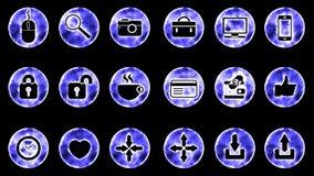 Icon Set 2 - Blue Color Black Background. 4K Resolution vector illustration
