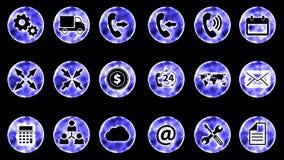 Icon Set 3 - Blue Color Black Background. 4K Resolution for your business stock illustration
