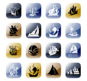 Icon set boats. Stylized and colorful icons set Stock Photos