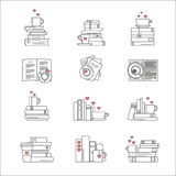 Icon set for book fans. Book stacks, coffee or tea mugs and paper cups. Heart elements as steam, tea tag or cookie. I love to read concept. Vector isolated Royalty Free Stock Photo