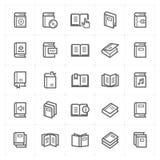 Icon set - book outline stroke stock illustration