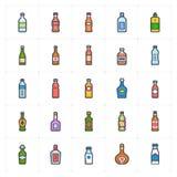 Icon set - bottle and beverage full color outline stroke stock images