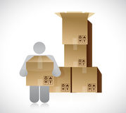 Icon and set of boxes. packing concept Stock Image