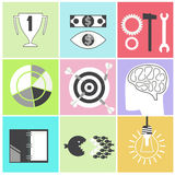 Icon set brain light bulb darts target fish eye. Icon set brain glowing light bulb darts target fish eye gear hammer wrench. Business idea concept cartoon flat Royalty Free Stock Image