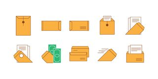 Icon set brown envelope and paper stock illustration