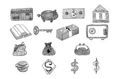 Icon set business and finance with money, graphs, drawn vector doodle. Icon set business and finance with money, graphs, calculator, shaking hands, hand drawn Royalty Free Stock Image