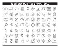 Icon set business financial line style vector illustration
