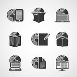 Icon Set - Business, IT, Media, Everyday Life. Set of Black and White Business and Media Icon Illustrations - Clipart in Editable Vector Format Stock Photos