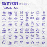 Icon set business people and finance with money, graphs, calculator, shaking hands, hand drawn vector doodle Royalty Free Stock Photography