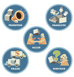 Icon set for Business Trade Commerce. Icon set for use of business, trade and commerce. All elements in the  are isolated on background Stock Image