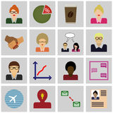 Icon set business/ Vector business/ Icons gray, square, Royalty Free Stock Photos