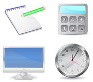 Icon set calculator monitor notepad clock Stock Photo