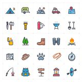 Icon set - Camping full color outline stroke stock photo