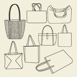 Icon set of canvas bags collection Royalty Free Stock Image