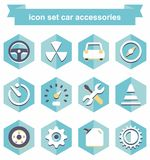 Icon set car accessories Royalty Free Stock Images