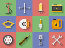 Icon set  Car repair parts, car service. Flat Royalty Free Stock Photography