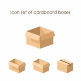 Icon set of cardboard boxes Stock Images