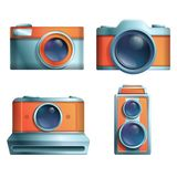 Icon set of cartoon vintage cameras on a white background vector illustration