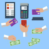 Icon set of cash and cashless payment methods Royalty Free Stock Photography