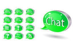 Icon set of chat, forum, blog, rss, help Royalty Free Stock Photography